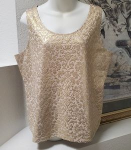 Chico's gold and cream tank top flower print